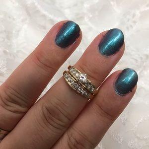 Vintage diamond and gold wedding ring set
